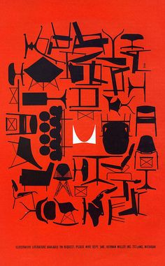 1961 Herman Miller advert via MidCentArc on Flickr.  Is it just me or does the logo at the centre spear to float above the red?