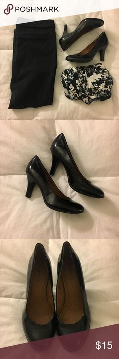 "Patent black heels These Jaclyn Smith heels are perfect for everyday wear! Heels are about 3"" tall and the insoles are padded nicely. Regular width. All manmade material.   Excellent used condition: insoles show no signs of wear and soles are scuff free. Some minor scuffs/dings that could be removed. Jaclyn Smith Shoes Heels"