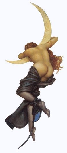 We are not victims. We are Divine love, beauty and power incarnate! Art by Michael Parkes You Are My Moon, Arte Fashion, Magic Realism, Park Art, Moon Goddess, Moon Art, Stars And Moon, Erotic Art, Illustrators