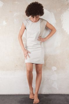 1-wing creme dress. Upcycled item. Designed and manufactured locally in Berlin, by Sack & Asche.