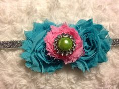 Blue and Pink Flower Newborn Infant Baby Girl by HannahHeadbands, $10.00