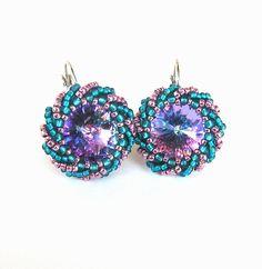 Beaded Earrings With Rivoli Swarovski. $20.00, via Etsy.