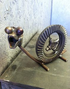 Garden Art Snail. from recycled metal parts