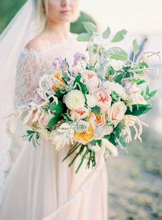 Dreamy Bridal Bouquet in Soft Hues | Lavender Coastal Wedding Inspiration by Kurtz Orpia Photography