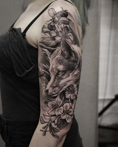 dotwork fox tattoo on halfsleeve