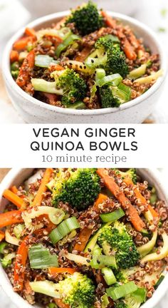 This healthy Ginger Quinoa Bowl recipe is a flavorful vegetarian vegan and protein-packed dish perfect for lunch or dinner Ready in just 10 minutes filled with veggies and tons of flavor So easy to make quinoabowl veganquinoabowl ginger healthydinner Easy Sausage Recipes, Easy Plant Based Recipes, Veggie Dinner Recipes, Dessert Recipes, Broccoli Recipes, Yummy Veggie, Veggie Food, Veggie Lunch Ideas, Veggie Bowl Recipe