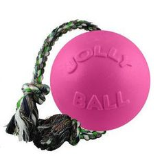 PINK BUBBLEGUM ROMP & ROLL DOG TOY WITH ROPE 4.5 INCH - BD Luxe Dogs & Supplies
