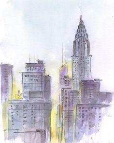 New York city at sunset. New York painting. NYC by madareli
