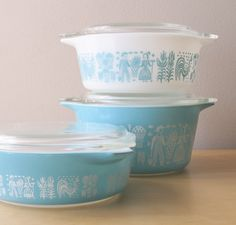 I love that these are vintage. Doesn't Mom still have these, @Jenn Smith? vintage pyrex nesting cinderella casserole bowls turquoise blue