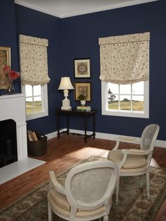 Relaxed Roman shades featuring a classic valance. Decor, Living Area, Custom Windows, Custom Window Treatments, Shades Blinds, Window Styles, Roman Shades, Blinds For Windows, Custom Window Coverings
