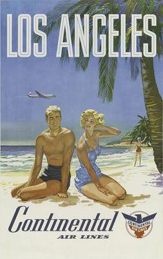 Travel Poster Los Angeles - retro vintage