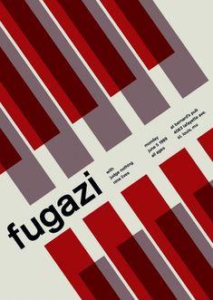 vintage punk/hardcore posters in swiss design style - swissted shop poster Fugazi at bernard's pub, 1989 Poster Design, Graphic Design Posters, Graphic Design Inspiration, Print Design, Layout Design, Web Design, Modern Design, Creative Posters, Cool Posters