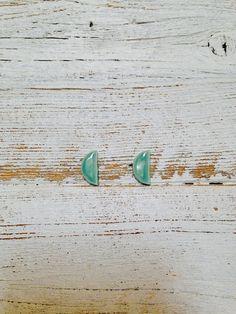 Jade Ceramic Half Moon Earrings modern Minimal by southerngracie