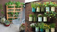 For a cheaper flower bed/pot option, re-purpose a pallet or tin cans.