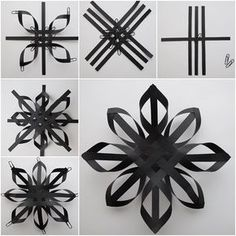 49 ideas diy kids crafts winter paper stars for 2019 Christmas Origami, Christmas Snowflakes, Christmas Crafts, 3d Snowflakes, Black Christmas, Snowflake Ornaments, Handmade Christmas, Diy Christmas Star, Christmas Ideas