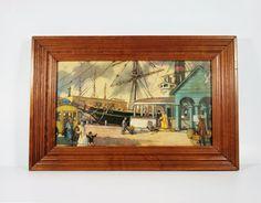 Vintage Nautical Victorian Scene Seaport by vintagefindsetcetera, $28.00