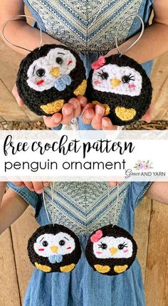Quick and easy free crochet penguin ornament pattern!  #graceandyarn #freecrochetpenguinornamentpattern Crochet Christmas Decorations, Crochet Ornaments, Christmas Crochet Patterns, Holiday Crochet, Crochet Snowflakes, Easy Knitting Projects, Knitting Kits, Crochet Projects, Knitting Patterns
