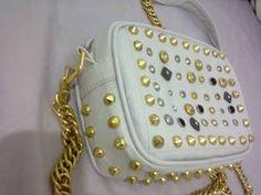 bolsa de couro ecologico branca c/ spike atacado e varejo - Bolsa e Sacola