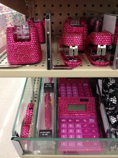 Sparkly pink office supplies - i have the stapler and tape dispenser and pen holder  and sparkly zebra pen . all from hobby lobby and i love them!!!!!!!!!!!