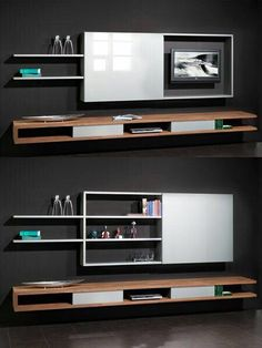 Clever Ways to Hide Your Television - The Architects Diary- Angeles Crespo Cuellar Tv Unit Design, Tv Wall Design, Living Room Tv, Home And Living, Tv Escondida, Hidden Tv Cabinet, Tv In Bedroom, Front Rooms, Home Office Decor