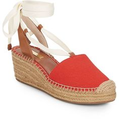 Louise et Cie Pippa Canvas Espadrilles ($40) ❤ liked on Polyvore featuring shoes, sandals, red, summer sandals, platform espadrilles, ankle wrap sandals, ankle strap wedge sandals and wedge sandals