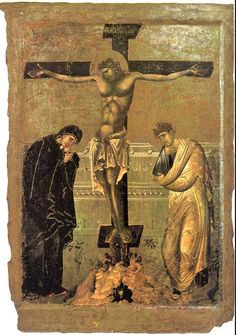 Crucifixion. Beginning of 14th century. Double-faced icon, one of a pair. National Museum, Ohrid
