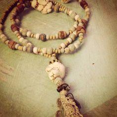 Ocean Sky Prayer Bead Mala Necklace