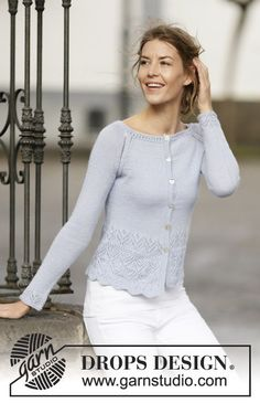 Knitted DROPS jacket with raglan and lace pattern in BabyAlpaca Silk. Size: S - XXXL.