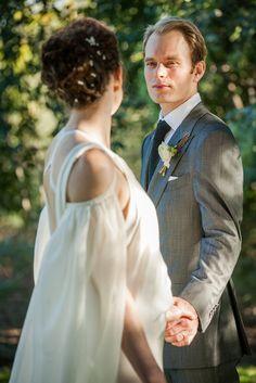 Photo by http://www.amaranthweddingphotography.com/ Arizona wedding, tom ford suit, groom, DKNY dress, custom made bridal cape,