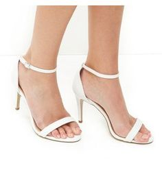 White Leather-Look Ankle Strap Heels | New Look