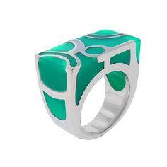 anillo de plata con piedra aqua