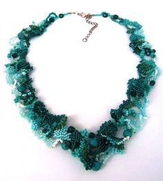 Beaded jewelry. Freeform peyote beaded art necklace, turquoise, teal, aquamarine, one of a kind jewelry, by Ibolya. $128.00, via Etsy.
