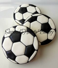 1 Dozen Soccer Ball Cookies by SugaredHeartsBakery on Etsy