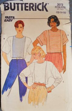 Butterick 3073 Pattern Loose Fitting Pullover Top Drop Shoulders - 1985 Sz 12-16 Uncut and Factory Folded Sewing Supplies Sewing Patterns
