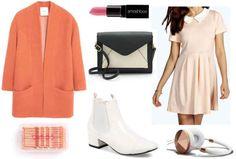 Cream dress, orange jacket, white shoes, pink lip