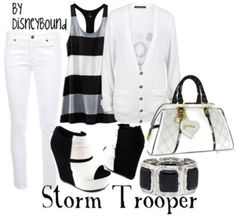 Stormtrooper, from Star Wars. I like the tank top in this one. Star Wars Outfits, Disney Bound Outfits, Disney Inspired Outfits, Disney Style, Themed Outfits, Disney Dresses, Casual Cosplay, Character Outfits, Classy And Fabulous