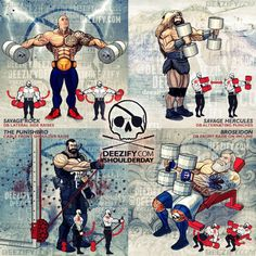 Shoulder Exercises: the Rock, hercules, poseidon, punisher, lateral and front raises