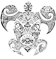 maori designs and patterns | Awesome Design of Maori Turtle with tens of Polynesian Typical Symbols ...