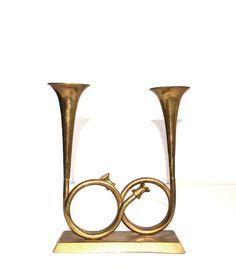 Vintage Brass Horn Candle Holder Brass Trumpet by JudysJunktion