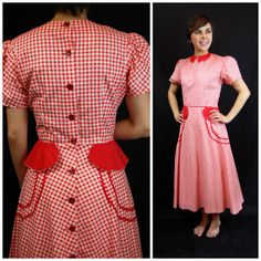 1940s Red Gingham summer dress  WWII Red by FrocksnFrillsVintage