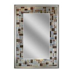 Deco Mirror 34 in. L x 24 in. W Windsor Tile Mirror in Brush Nickel Frame