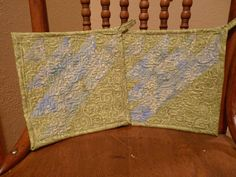 Blue and Green Stripped Pot Holders by SugarHillEnterprises