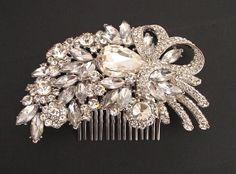 bridal hair comb crystal hair comb wedding by nefertitijewelry2009, $48.00