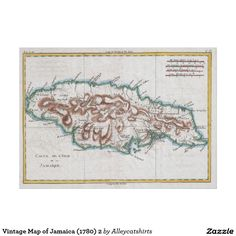 Vintage Map of Jamaica (1780) 2 Poster