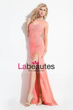 2015 Mermaid Scoop Prom Dresses With Beading And Slit Sweep Train USD 189.99 LPJMAPQZD - Labeautes.com