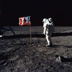 Buzz Aldrin salutes the American flag on the Moon.