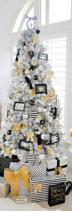 Yellow black and white Christmas tree is a unique idea