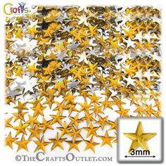 1440pc Acrylic foil Flatback Star shape Rhinestones 3mm Golden Yellow