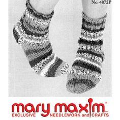 Mary Maxim - Knit Dorm Socks Pattern - Free Patterns - Patterns & Books