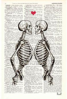 Wall art Skeleton Couple-gift husband gift 1st by PRRINT on Etsy